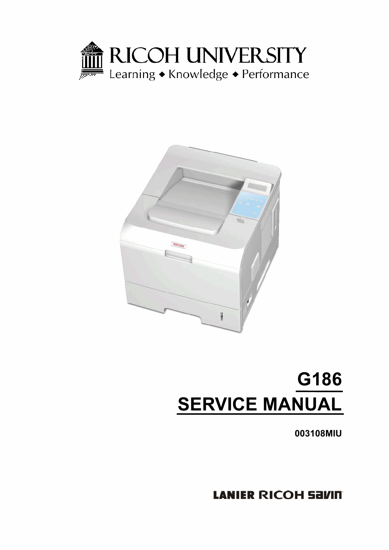 RICOH Aficio SP-5100N G186 Parts Service Manual-1